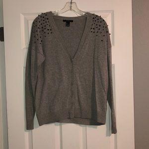 Forever 21 button up studded shoulder sweater